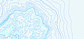 Contour lines of a mountainous landscape, illustration