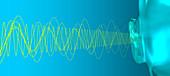 Audio waves entering ear, illustration