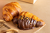 Dark chocolate and butter croissants
