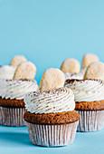 Tiramisu cupcakes decorated with ladyfingers