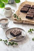 Vegan beetroot brownie with chocolate frosting