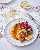 Roasted pike in wine and sweet potato puree
