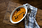 Cream of pumpkin soup with pumpkin seed oil