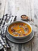Pumpkin soup with caramel onions