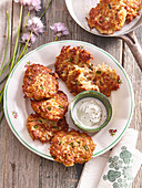 Potato pancakes with minced beef meat