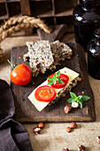 Ketogenic bread with tomatoes and cheese
