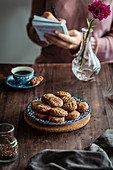 Vegan peanut butter cookies with flax seeds
