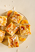 Tangerine and almond sheet cake squares