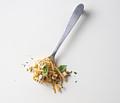 Spaghetti with almond pesto, sword fish and salmoriglio