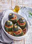 Round zucchini stuffed with meat mixture