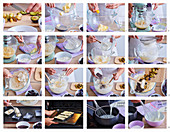 Preparing mini plum and poppy seed cakes