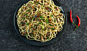 Spicy spaghetti with sardines and chilli