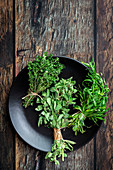 Round plate filled with various fresh green aromatic herbs placed on wooden table