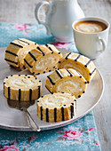 Striped biscuit rolls