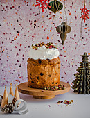 Festive Panetone with Italian meringue and dried roses