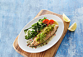 Trout fillet with herb crust and spinach