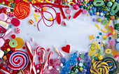 A frame of various colourful sweets