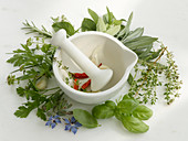 A mortar with fresh herbs and spices