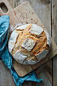 A loaf of sourdough wheat bread