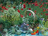 A summer arrangement of artichokes and fresh herbs