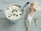 Fresh horseradish sour cream with capers