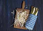 Asparagus peel being used for asparagus soup