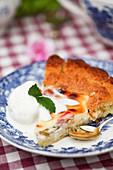 Slice of rhubarb and cream cheese cake