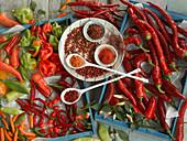 Fresh chilli peppers, dried chillis, chilli powder and chilli flakes