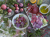A salad with winter radish and beetroot