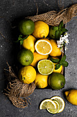 Still life of limes and lemons basket placed on dark textured surface