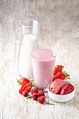 A strawberry milkshake and strawberry-and-raspberry sorbet