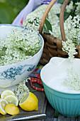 Processing elderflowers