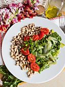 Swiss chard, tomato and legumes