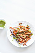 Caramelised carrots with a coriander pesto