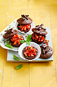 Sacher tartlets with strawberries