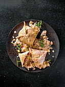 Baked black pudding wontons with cream sauerkraut