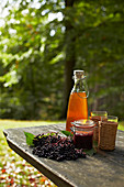 Elderberries, jam and juice