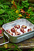Roasted chestnuts in an aluminum tray