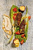 Fish kebab with mango passion fruit mayonnaise