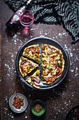 Chicken tikka pizza with whole wheat flour