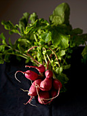 A bunch of radishes with greens