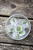 Ice cubes with mint leaves in small glass bowls