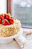 Napoleon cake - Homemade vanilla, pastry cream and strawberry mille-feuille cake