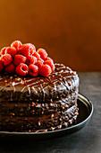 Chocolate layer cake with dulce de leche, butter cream, ganache and raspberries
