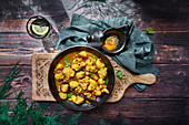 Cauliflower stew with turmeric and vegetables