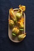Frische Zucchiniblüten in einer Schale