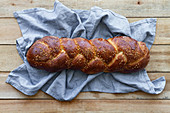 Braided bread with seeds
