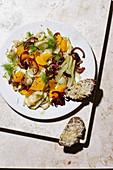 Fennel and orange salad with Parmesan crostini