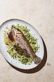 Grilled trout with parsley couscous