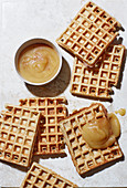 Yoghurt and nut waffles with apple sauce